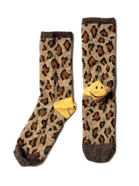 Kapital 84 Heel Smiley Socks - Leopard Print