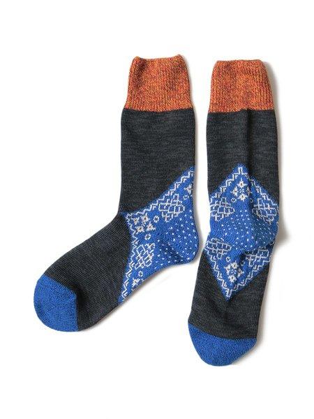 Kapital 96 Yarns Heel Bandana Socks - Blue