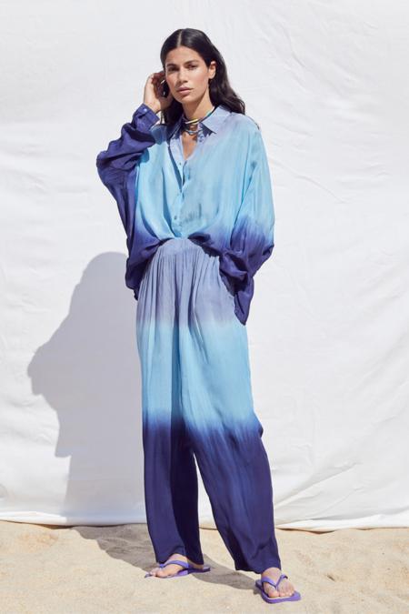 Not Shy Kiona Tie Dye Pants - Sky/ Azure/Navy