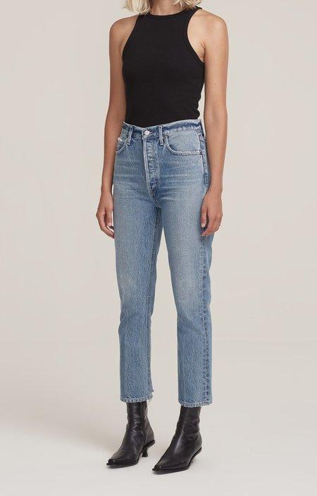 Agolde Riley High Rise Straight Crop Jeans - Light Indigo
