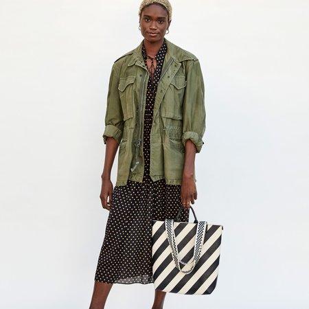 Clare V. Annie Leather Tote - Black/Cream Stripe