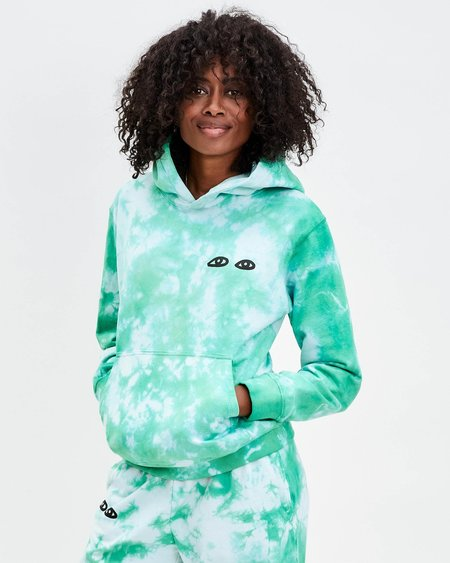 Clare V. Tie-Dye Hoodie with Eyes - Pale Blue/Green