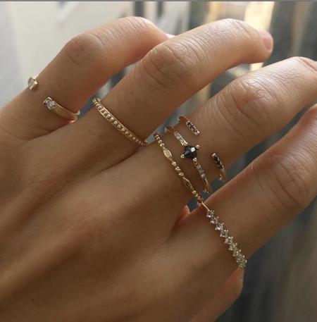 Jennie Kwon Designs Black Diamond Equilibrium Cuff Ring - 14K yellow