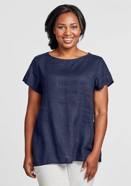 Flax Sun Tee-Linen T Shirt - Navy