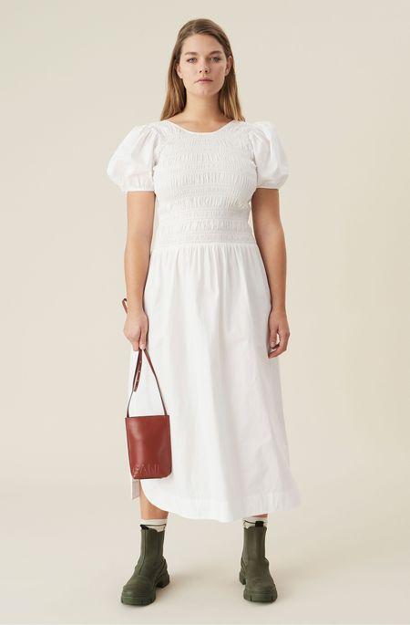 Ganni Cotton Poplin Shirred Dress - White