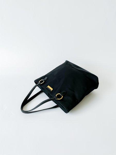 vintage Nylon Shoulder Tote Bag - black