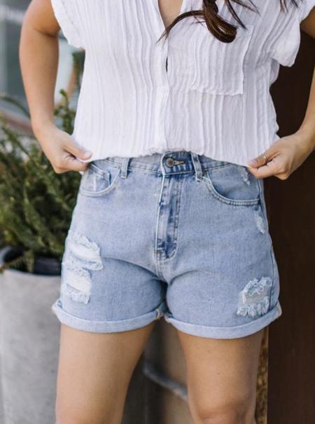 Wishlist Distressed Mom Shorts - Blue