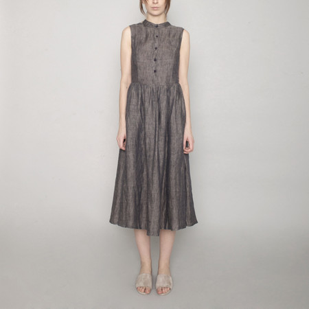 7115 by Szeki Linen Princess Dress - Charcoal - SS17