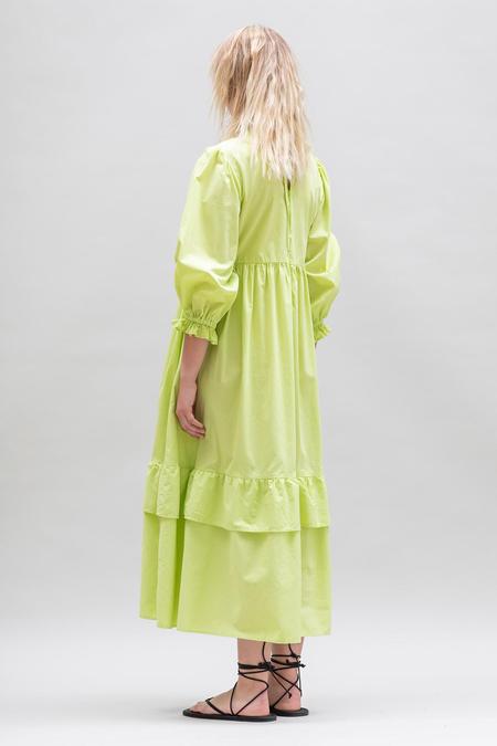 Toit Volant Muumuu Tier Ruffle Dress - Lime