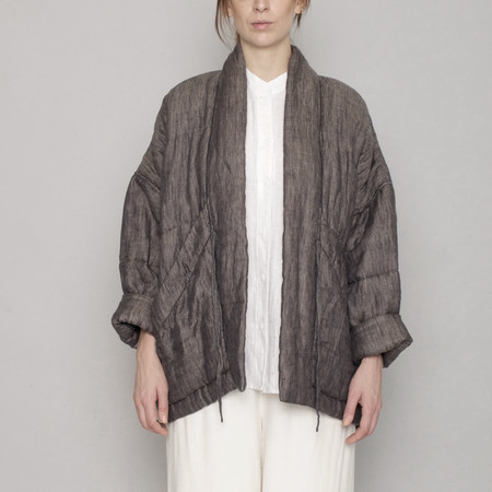 7115 by Szeki Quilted Linen Jacket - Charcoal - SS17