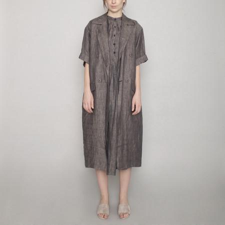 7115 by Szeki Short Sleeve Linen Long Coat - Charcoal - SS17