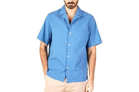 Portuguese Flannel Square Searsucker Camp Shirt - Blue