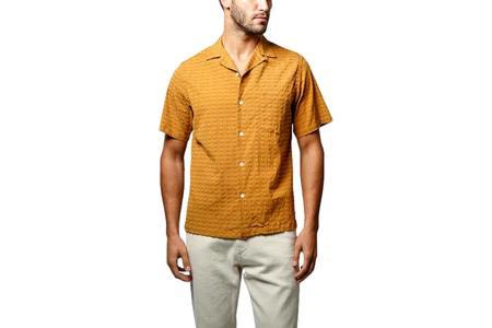 Portuguese Flannel Square Searsucker Camp Shirt - Mustard