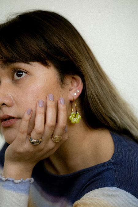 Cities In Dust Blue Daisy Hoop Earrings - Gold