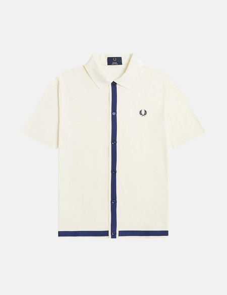Fred Perry Pique Button Through Polo Shirt - Ecru