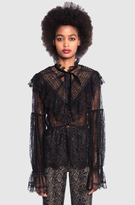 Anna Sui Lady Lace & Velvet Top - Black