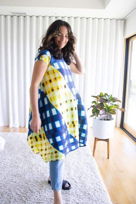 Pleats Please Issey Miyake Trek Check Dress - Navy/Yellow
