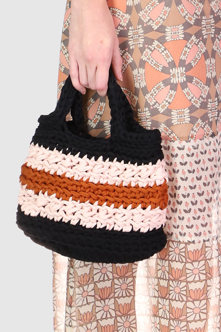 Anna Sui Recycled T-shirt Crochet Bag - Amber