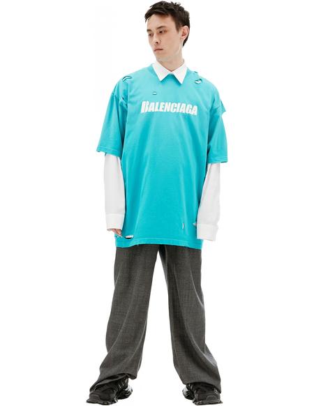 Balenciaga Distressed T-shirt - blue
