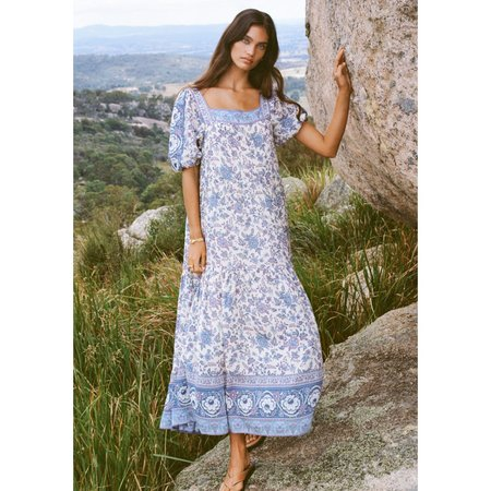 Spell Square Neck Gown DRESS - Sky