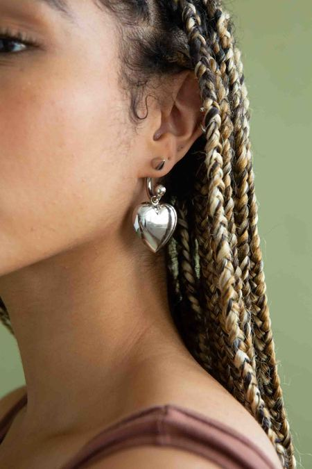 WOLF & GYPSY VINTAGE Safsafu wild Love Heart Earring - silver