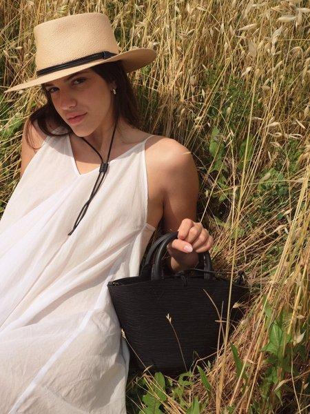 Officina del Poggio Small Cesta Bag -  Black Leather