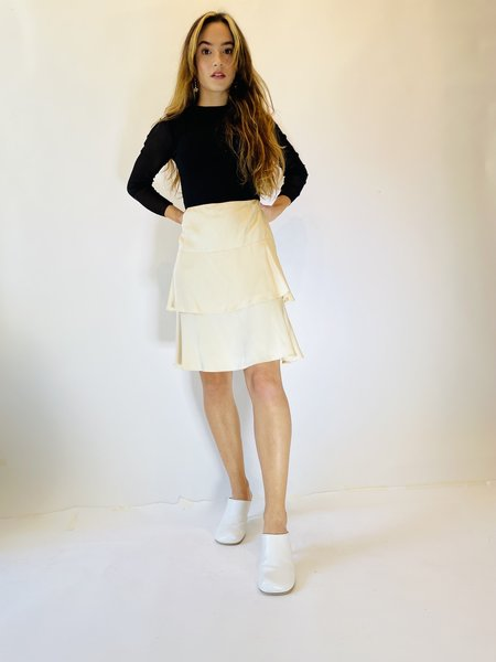 PRE-LOVED Chanel Tiered Mini Skirt - Ivory
