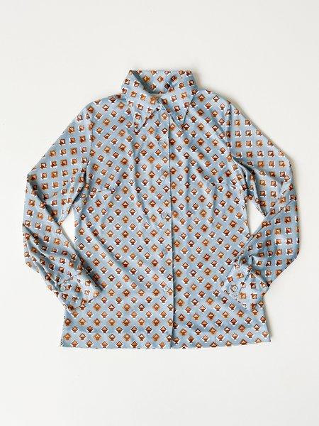 Vintage Geometric Print Silky Blouse - BLUE