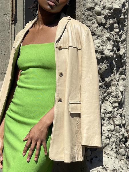 Vintage Leather Blazer Jacket - Ecru
