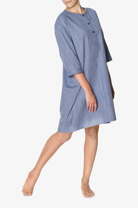 The Sleep Shirt Collarless Sleep Shirt - Navy on Navy Stripe