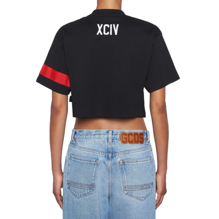 GCDS Crop Logo T-Shirt - Black