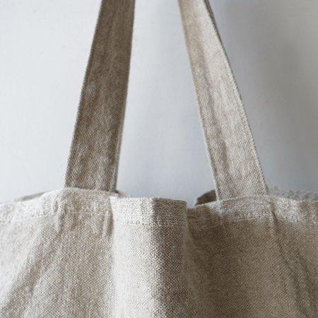 ICHI ANTIQUITES Selvedge Linen Tote Bag - Natural