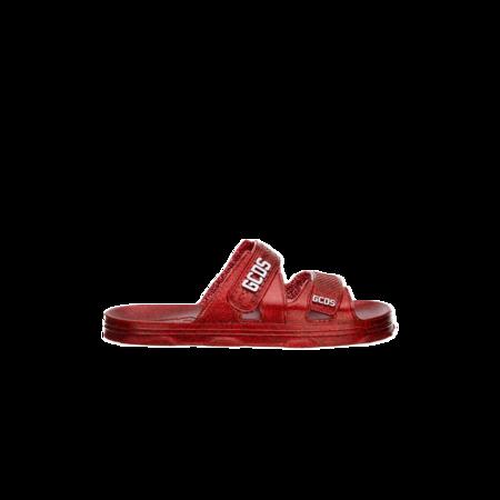 GCDS Glitter Rubber Sandals - Red