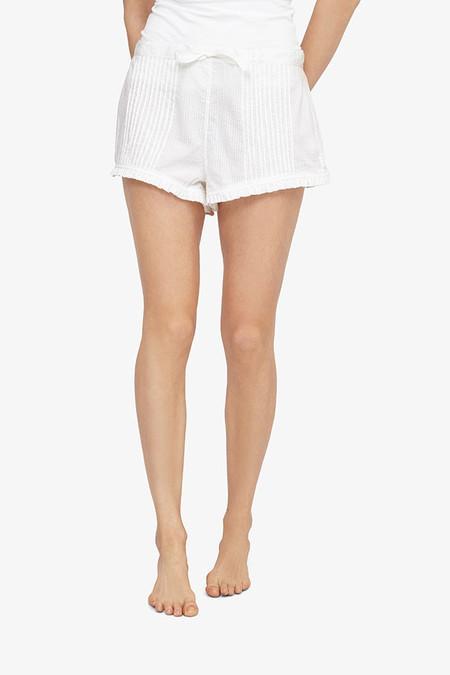 The Sleep Shirt Pin Tuck Short White Seersucker