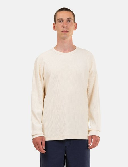 Norse Projects Johannes Compact Waffle Long Sleeve T-Shirt - white