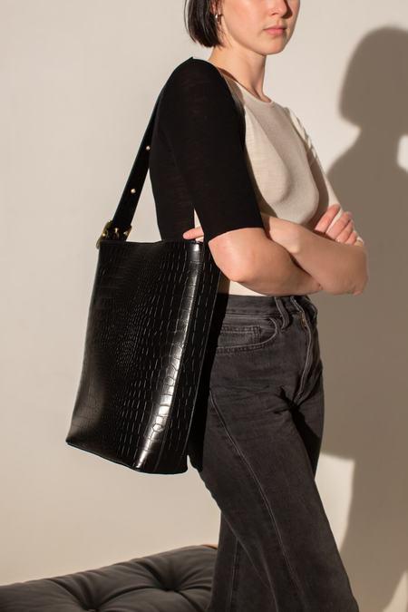 BRIE LEON Everyday Slouch Bucket Bag Croc -  Black