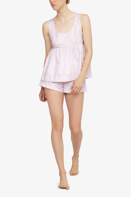 The Sleep Shirt Set - Empire Top and Ruffle Short Pink Skinny Stripe
