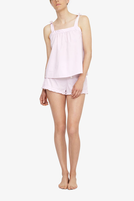 The Sleep Shirt Set - Tie Top and Ruffle Short Pink Skinny Stripe