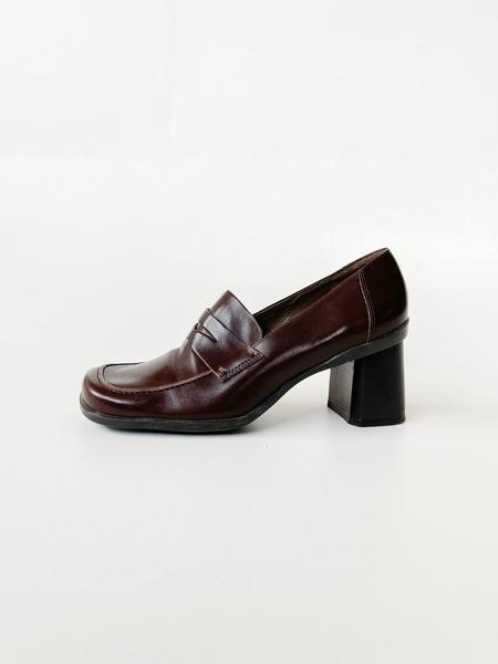 Vintage Leather Block Heel Loafers - Brown