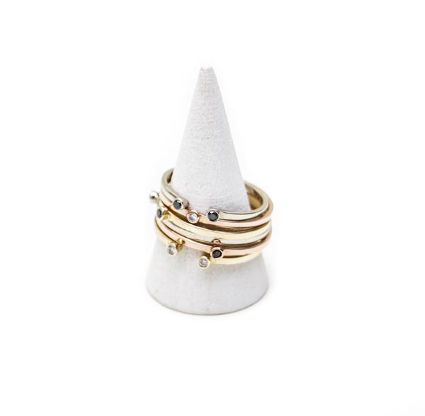 Gabriela Artigas Double Black Diamond Ring in White Gold
