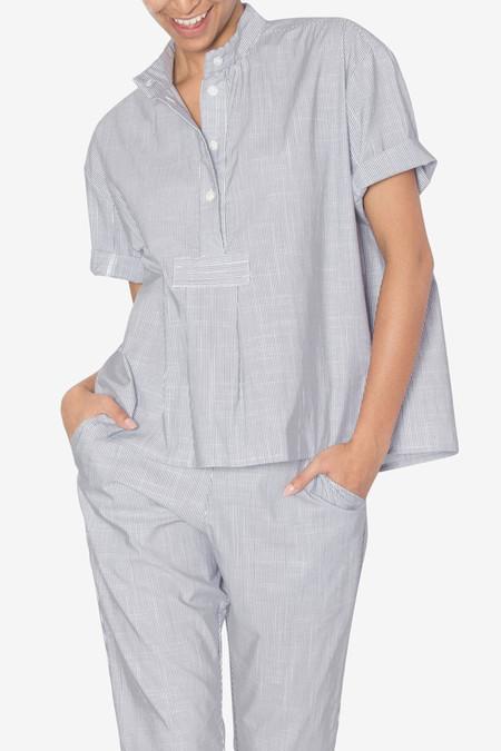 The Sleep Shirt Short Sleeve Cropped Shirt Navy Pinstripe