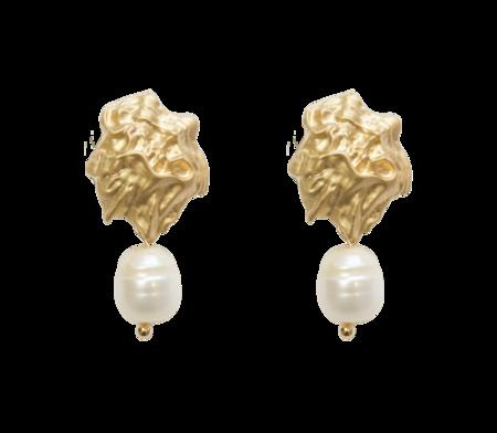 Vintage Satin Tone Sea Shell & Pearl Clip On Earrings