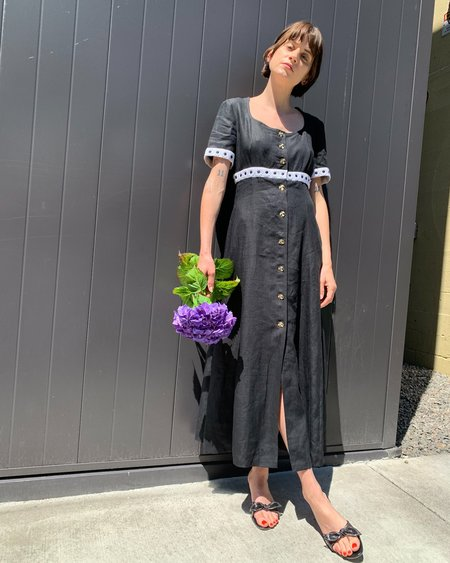 Vintage Escada Daisies Linen Dress - black