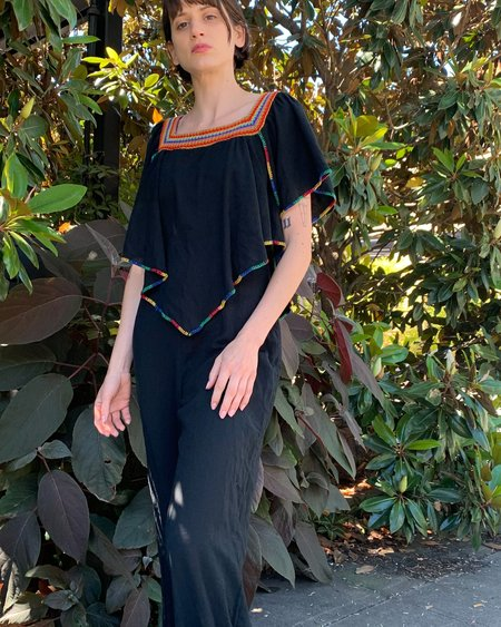 Vintage Gauze Embroidered Jumpsuit - black
