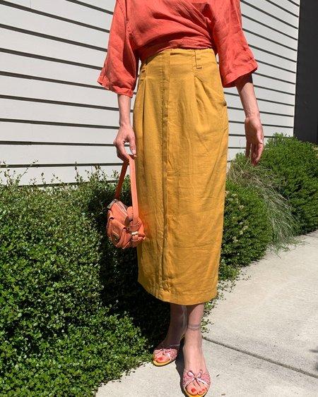 Vintage Linen Skirt - Mustard