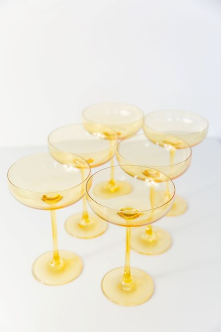 Estelle Colored Glass Coupe Glasses - Yellow