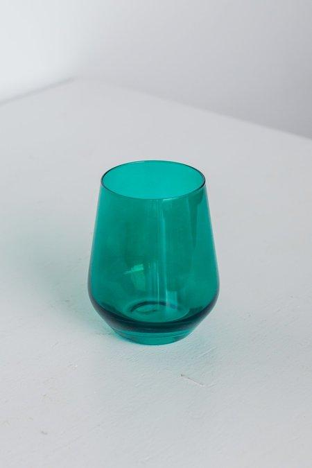 Estelle Colored Glass Stemless Wine Glasses - Emerald Green