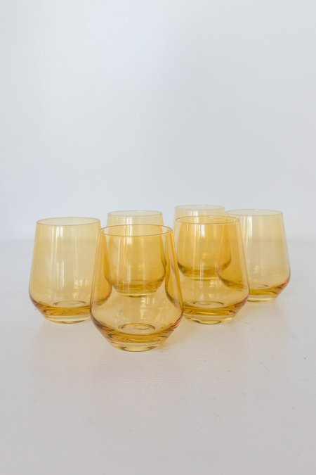 Estelle Colored Glass Stemless Wine Glasses - Yellow