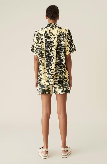 Ganni High Waist Denim Shorts - Yellow Print