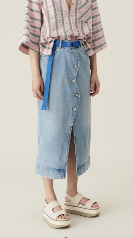 GanniWavy Denim Midi Skirt